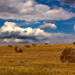Summer landscape of an oblique field and the sky with clouds — Stock Photo