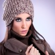 Close up beautiful young woman with brown cap — Stock Photo #9127231