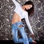 Beautiful young urban woman dancing — Stock Photo #9128147