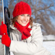 Happy young snowboard girl on the snow day — Stock Photo #9165475