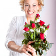 Red roses gift for Valentine's Day — Stock Photo