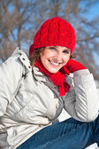 Beautiful woman with red cap — Stock Photo