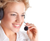 Woman consultant with headset and mic — Foto de Stock
