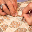 Proces of making traditional Persian mosaic technics khatam - Stock Photo