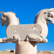 Two-headed Griffin statue in an ancient city of Persepolis - Stock Photo