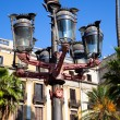 Traditional Barcelona street light at Plaza Real, Barcelona - Stok fotoğraf