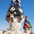 The mosaic chimneys made of broken ceramic tiles, Barcelona, Spain — Stock Photo
