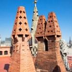 The mosaic chimneys made of broken ceramic tiles — Stock Photo