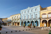 Detail of Old Havana plaza Vieja with colorful tropical buildings — Stock Photo