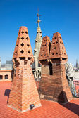 The mosaic chimneys made of broken ceramic tiles — Stock Photo