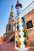 The arched roof and complex chimney on house of Palau Güell, Gaudi's — Stock Photo