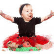 Cute Baby and cake — Stock Photo