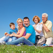 Stock Photo: Happy family on picnic in park