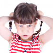 Stock Photo: Upset little girl with pigtails