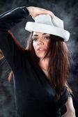 Beautiful fashion woman portrait with white hat — Stock Photo