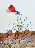 Innaffiando i soldi con un germoglio di argilla — Foto Stock