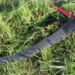 Scythe on grass — Stock Photo