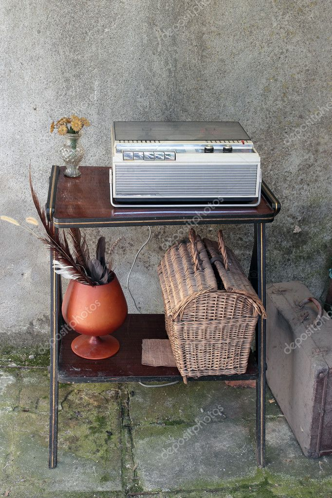 Vintage Tape Recorder  in a shabby  home interior — Stock Photo #10699261