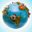 Flowered America Globe — Stock Photo