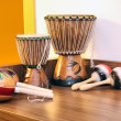 Bongos and maracas — Stock Photo
