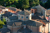 Aerial view of a medioeval church — Stock Photo
