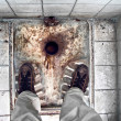 Dilapidated Turkish toilet — Stockfoto
