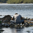 Stock Photo: Gold prospecting in Ticino River