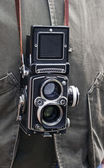Photographer with an old TLR Twin-Lens — Stock Photo