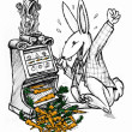 Lucky rabbit winning carrots — Stock Photo #8072253
