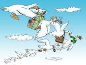 Goose team work — Stock Photo