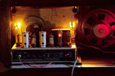 Turned on tubes of a vintage radio — Stock Photo