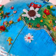 Flowered South America Globe — Stock Photo