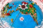 Flowered South America Globe — Stock Photo