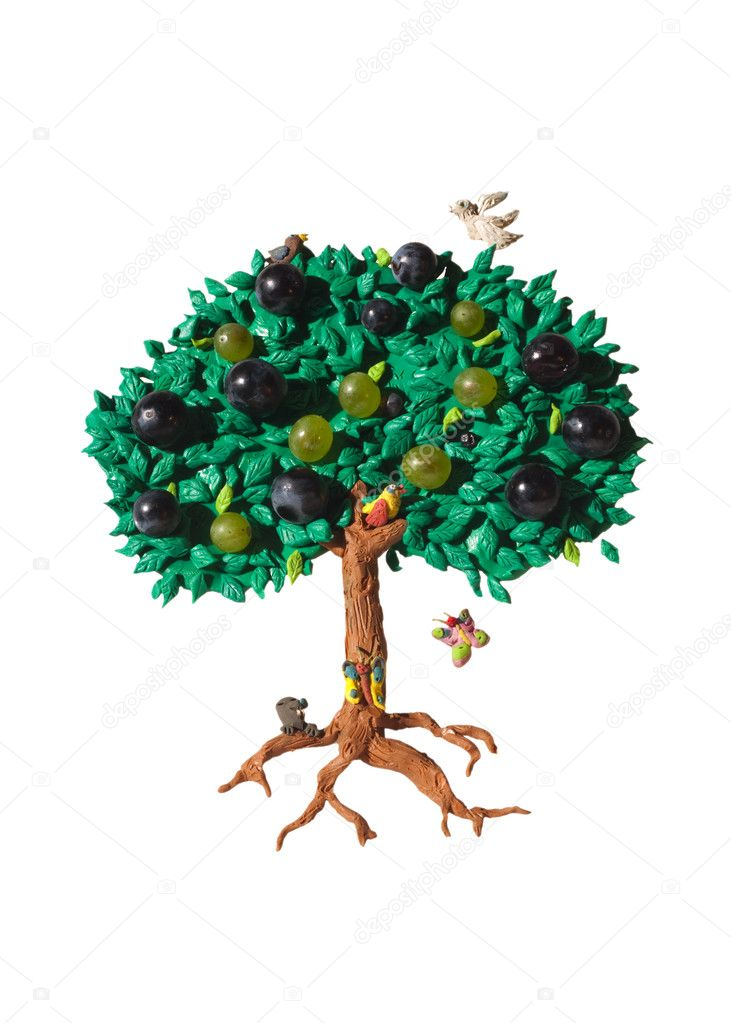 Summer Tree Cartoon Summer Season Concept Made in Plasticine Cartoon Style Photo by