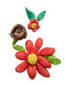 Izolované jíl květiny — Stock fotografie