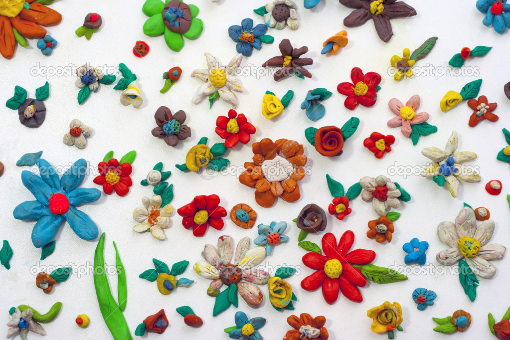 Plasticine colorful flowers background — Stock Photo #8166074