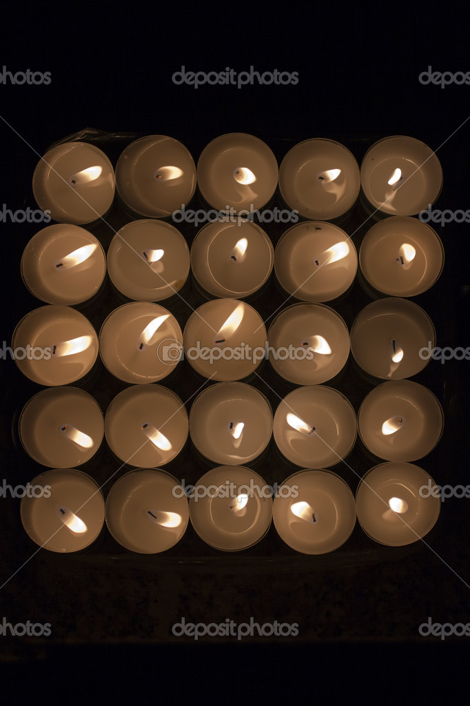 Light of Candles in the dark , view from above  Stock Photo #8268071
