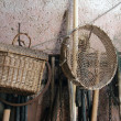 Old sieve and  wicker basket — Stock Photo
