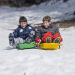 Sliding in fresh snow — Stock Photo