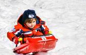 Sliding in fresh snow — Stock Photo