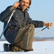 Stock Photo: Nordic walking in winter snow