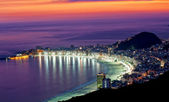 Night view of Copacabana beach. Rio de Janeiro — Stock Photo