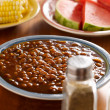 Meal wiith baked beans — Stock Photo