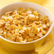 Bowl of crunchy corn flakes for breakfast — Stock Photo #8628184