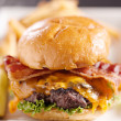 Bacon cheeseburger shot with selective focus — Stock Photo #8628229