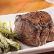 Seared tenderloin steak with asparagus. — Stock Photo #8628304