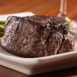 Seared tenderloin steak with asparagus. — Stock Photo