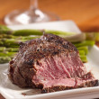 Tenderloin steak cut open cooked rare - Stock Photo