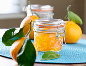 Jar of homemade orange jam — Stok fotoğraf