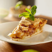 Apple pie with mint garnish. — Stock Photo